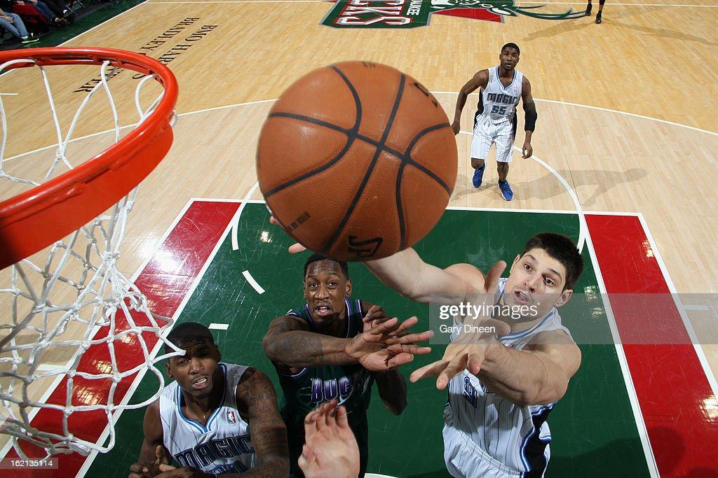 Nikola Vucevic #9 of the Orlando Magic grabs the ball against the Milwaukee Bucks on February 2, 2013 at the BMO Harris Bradley Center in Milwaukee, Wisconsin.