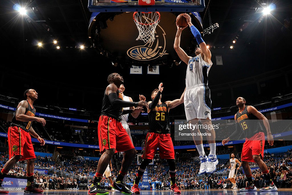 Nikola Vucevic #9 of the Orlando Magic grabs the rebound against the Atlanta Hawks on February 7, 2016 at the Amway Center in Orlando, Florida.