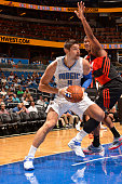 Nikola Vucevic of the Orlando Magic handles the ball against Flamengo Brazil on October 15 2014 at Amway Center in Orlando Florida NOTE TO USER User...