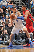 Nikola Vucevic of the Orlando Magic handles the ball against the New Orleans Pelicans on February 20 2015 at Amway Center in Orlando Florida NOTE TO...