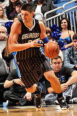 Nikola Vucevic of the Orlando Magic handles the ball against the Toronto Raptors on November 1 2014 at Amway Center in Orlando Florida NOTE TO USER...