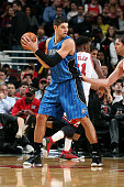 Nikola Vucevic of the Orlando Magic handles the ball against the Chicago Bulls on November 4 2014 at the United Center in Chicago Illinois NOTE TO...