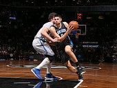 Nikola Vucevic of the Orlando Magic handles the ball against the Brooklyn Nets on April 15 2015 at the Barclays Center in the Brooklyn borough of New...
