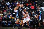 Nikola Vucevic of the Orlando Magic handles the ball against the Atlanta Hawks on February 8 2016 at Philips Arena in Atlanta Georgia NOTE TO USER...