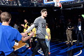 Nikola Vucevic of the Orlando Magic is introduced before the game against the San Antonio Spurs on February 10 2016 at Amway Center in Orlando...