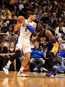 Nikola Vucevic of the Orlando Magic looks to drive against Roy Hibbert of the Los Angeles Lakers during the game at Amway Center on November 11 2015...