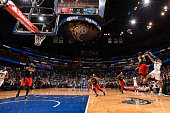 Nikola Vucevic of the Orlando Magic makes the game winning shot against the Atlanta Hawks on February 7 2016 at the Amway Center in Orlando Florida...