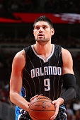 Nikola Vucevic of the Orlando Magic prepares to shoot a free throw against the Chicago Bulls on January 12 2015 at the United Center in Chicago...