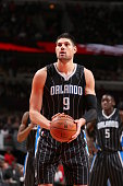 Nikola Vucevic of the Orlando Magic prepares to shoot a free throw the Chicago Bulls on January 12 2015 at the United Center in Chicago Illinois NOTE...