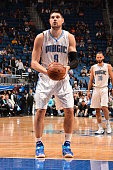 Nikola Vucevic of the Orlando Magic prepares to shoot a free throw against the New York Knicks on February 11 2015 at Amway Center in Orlando Florida...