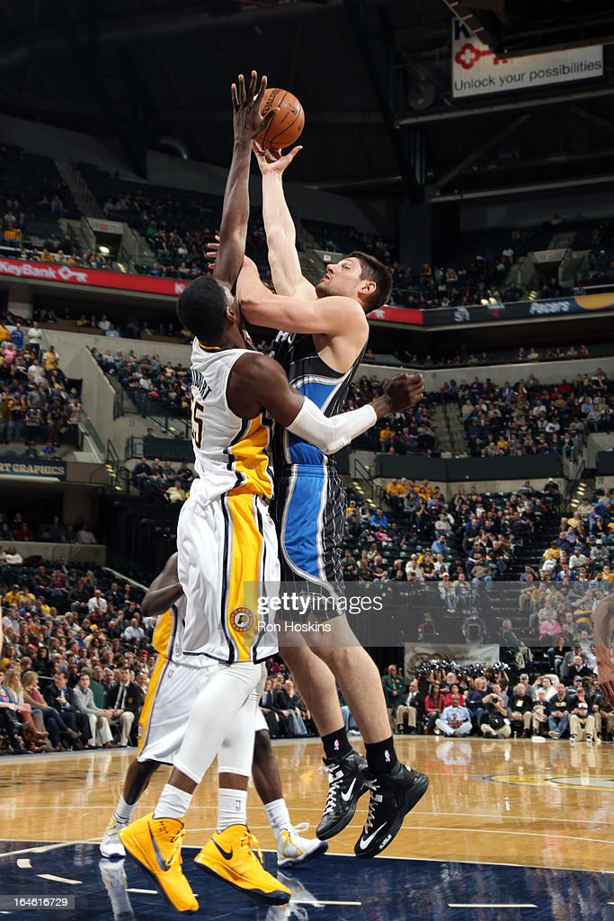 Nikola Vucevic #9 of the Orlando Magic puts up a shot against the Indiana Pacers on March 19, 2013 at Bankers Life Fieldhouse in Indianapolis, Indiana.