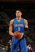 Nikola Vucevic of the Orlando Magic shoots a free throw against the Detroit Pistons during the game on November 17 2014 at The Palace of Auburn Hills...