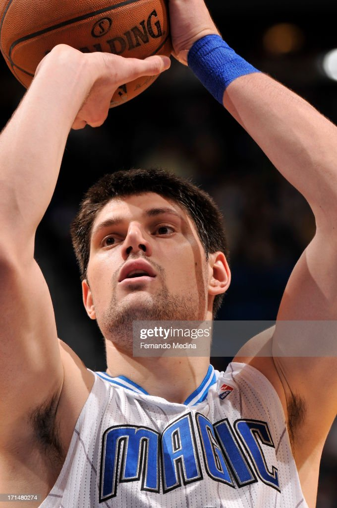 Nikola Vucevic #9 of the Orlando Magic shoots a free throw during a game on April 15, 2013 at Amway Center in Orlando, Florida.