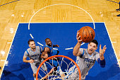 Nikola Vucevic of the Orlando Magic shoots a layup during the game against the Dallas Mavericks on February 19 2016 at Amway Center in Orlando...