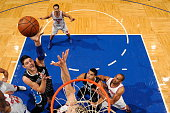 Nikola Vucevic of the Orlando Magic shoots against the New York Knicks on November 25 2015 at Amway Center in Orlando Florida NOTE TO USER User...