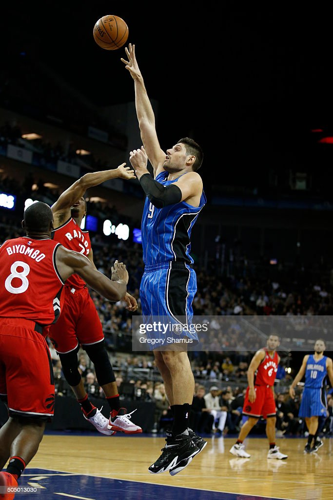 Nikola Vucevic #9 of the Orlando Magic shoots the ball against the Toronto Raptors as part of the 2016 Global Games London on January 14, 2016 at The O2 Arena in London, England.
