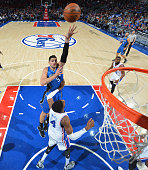 Nikola Vucevic of the Orlando Magic shoots the ball against the Philadelphia 76ers at Wells Fargo Center on February 23 2016 in Philadelphia...