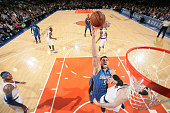 Nikola Vucevic of the Orlando Magic shoots the ball against the New York Knicks during the game on January 23 2015 at Madison Square Garden in New...