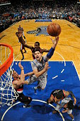Nikola Vucevic of the Orlando Magic shoots the ball against the Portland Trail Blazers on December 18 2015 at Amway Center in Orlando Florida NOTE TO...