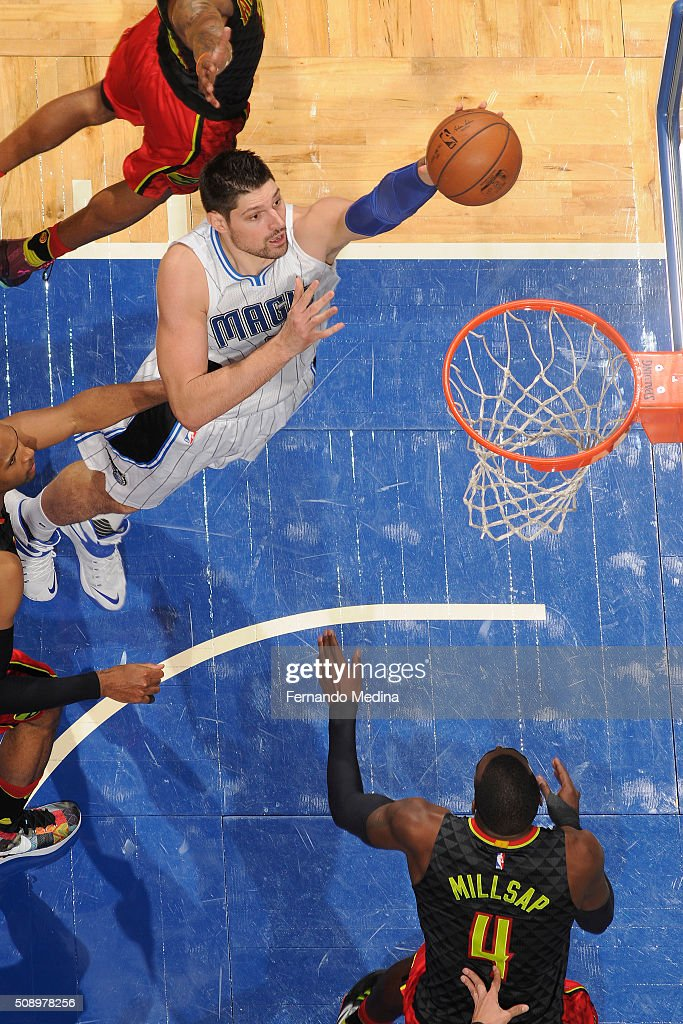 Nikola Vucevic #9 of the Orlando Magic shoots the ball against the Atlanta Hawks on February 7, 2016 at the Amway Center in Orlando, Florida.