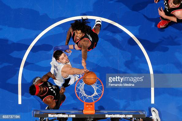 Nikola Vucevic of the Orlando Magic shoots the ball during the game against the Toronto Raptors on February 3 2017 at Amway Center in Orlando Florida...