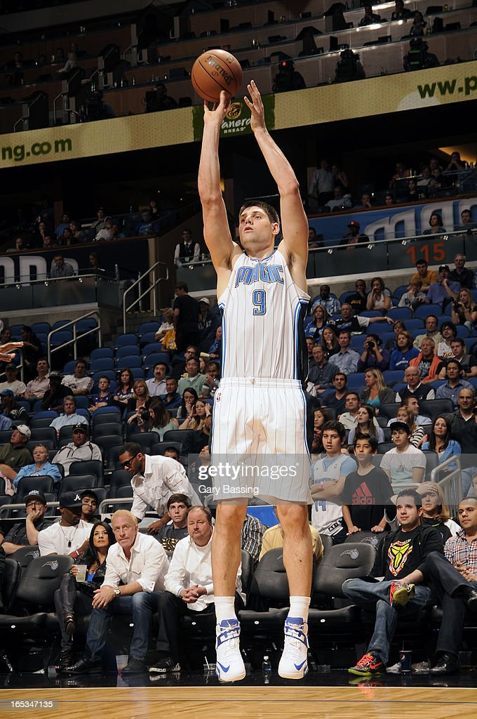 Nikola Vucevic #9 of the Orlando Magic takes a shot against the Los Angeles Lakers on March 12, 2013 at Amway Center in Orlando, Florida.