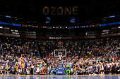 Nikola Vucevic of the Orlando Magic takes the game winning shot against the Los Angeles Lakers on November 11 2015 at Amway Center in Orlando Florida...