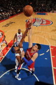 Nikola Vucevic of the Philadelphia 76ers goes to the basket during the game between the Detroit Pistons and the Philadelphia 76ers on April 26 2012...