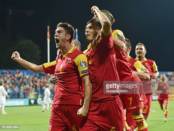 Nikola Vukcevic of Montenegro celebrates after scoring goal 20 during the FIFA 2018 World Cup Qualifier between Montenegro and Kazakhstan at...