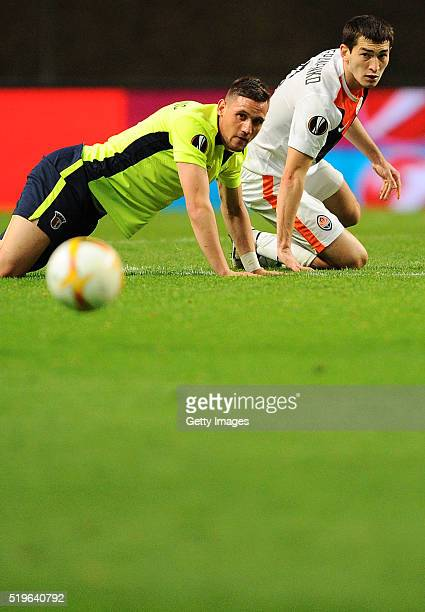 Nikola Vukcevic of SC Braga challenges Taras Stepanenko of Shakhtar Donetsk during the UEFA Europa League Quarter Final first leg match between SC...