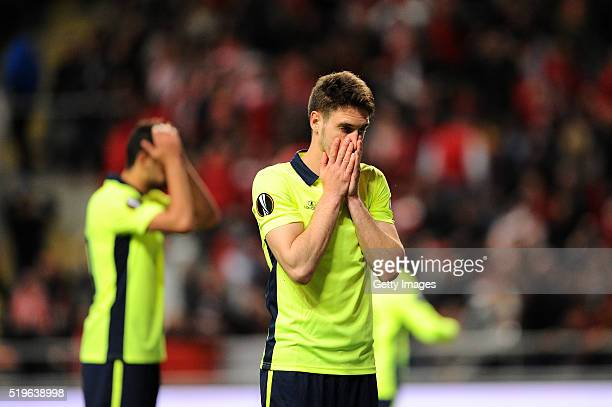 Nikola Vukcevic of SC Braga reacts after missing a goal during the UEFA Europa League Quarter Final first leg match between SC Braga and Shakhtar...