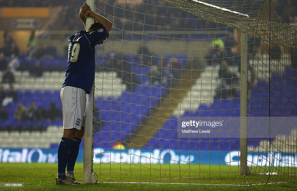 <a gi-track='captionPersonalityLinkClicked' href=/galleries/search?phrase=Nikola+Zigic&family=editorial&specificpeople=550649 ng-click='$event.stopPropagation()'>Nikola Zigic</a> of Birmingham City looks on, after missing a chance on goal during the npower Championship match between Birmingham City and Blackpool at St Andrews on March 5, 2013 in Birmingham, England.