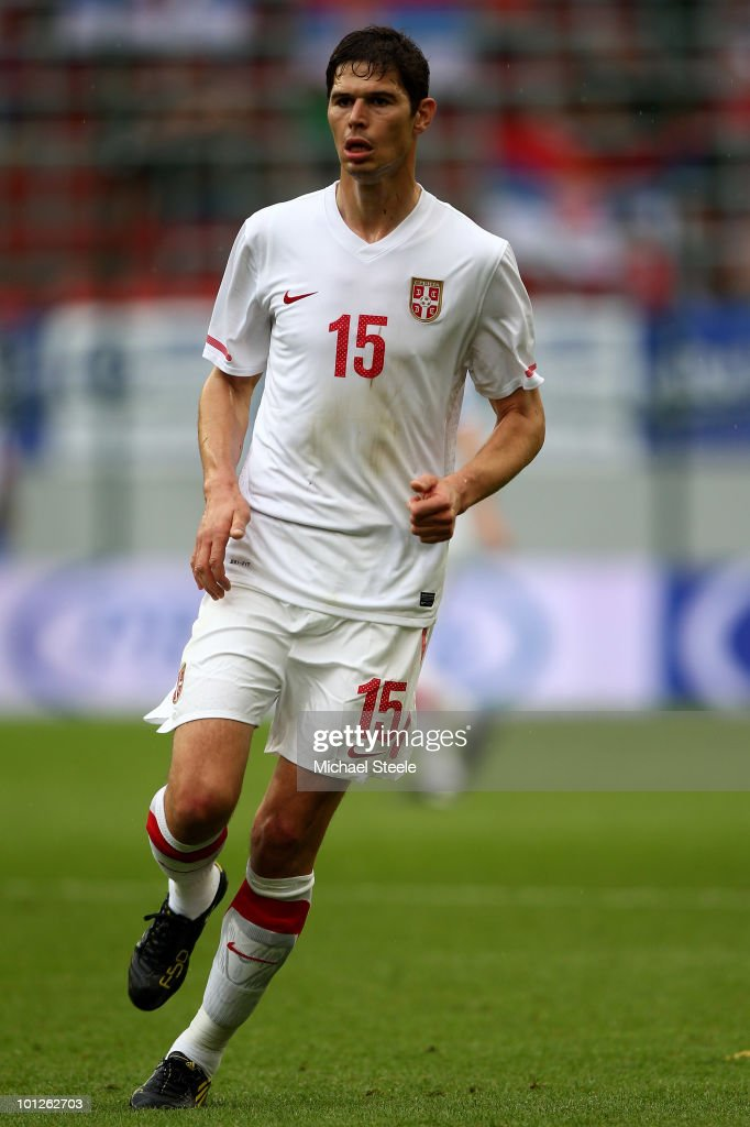 Nikola Zigic of Serbia during the New Zealand v Serbia International Friendly match at the Hypo Group Arena on May 29, 2010 in Klagenfurt, Austria.