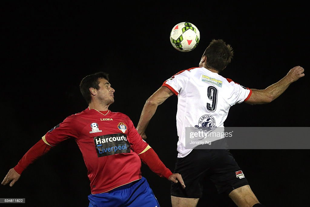 Nikola Zonjic of the White Eagles and Dylan McCallister of the Suns challenge for a header during the men's National Premier League match between Bonnrigg and Rockdale at Bonnyrigg Sports Club on May 28, 2016 in Sydney, Australia.