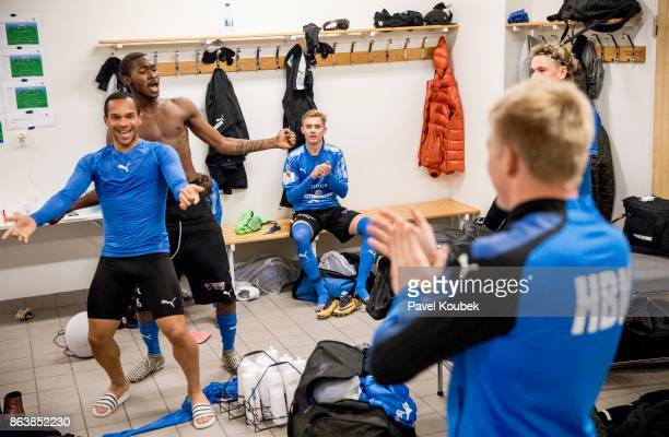 Nikolai Alho Aboubakar Keita of Halmstad BK celebrates after the victoryduring during the Allsvenskan match between Orebro SK and Halmstad BK at...