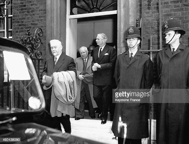Nikolai Bulganin Nikita Khrushchev with British Prime Minister Sir Anthony Eden at 10 Downing street on April 25 1956 in London United Kingdom