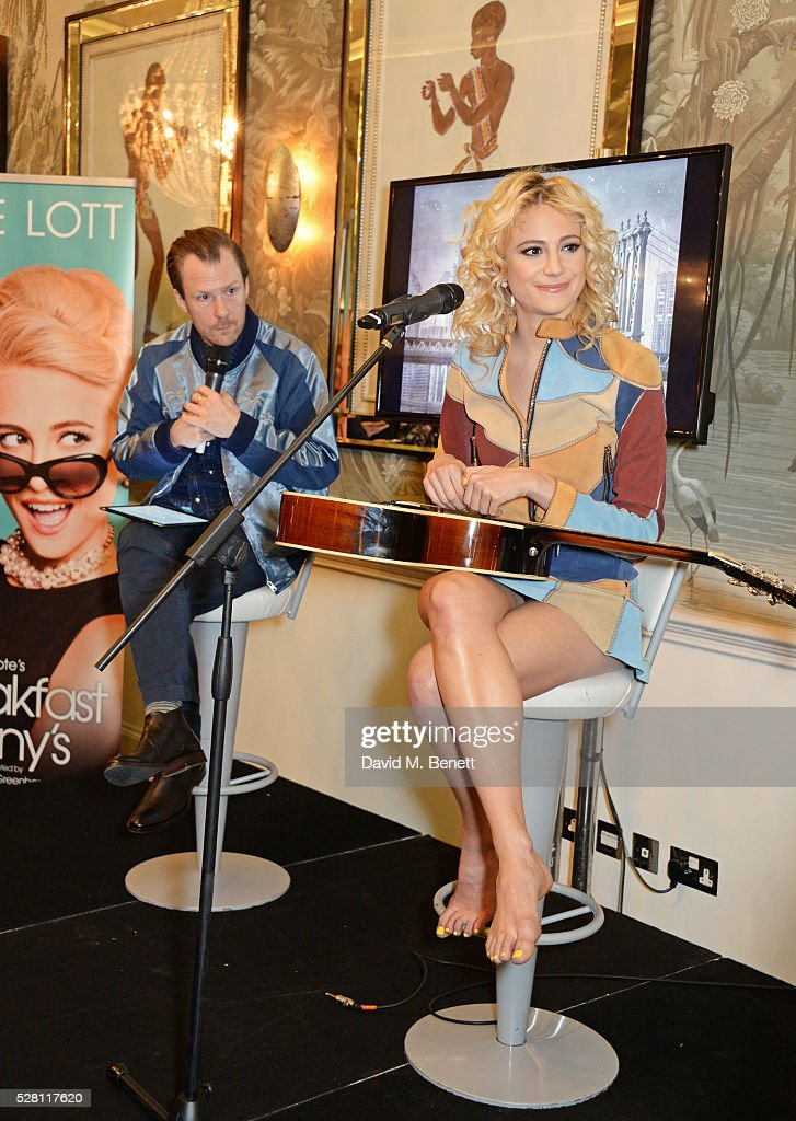 Nikolai Foster (L) and <a gi-track='captionPersonalityLinkClicked' href=/galleries/search?phrase=Pixie+Lott&family=editorial&specificpeople=5591168 ng-click='$event.stopPropagation()'>Pixie Lott</a> speak at the press launch for the West End production of 'Breakfast At Tiffany's' at The Haymarket Hotel on May 4, 2016 in London, England.