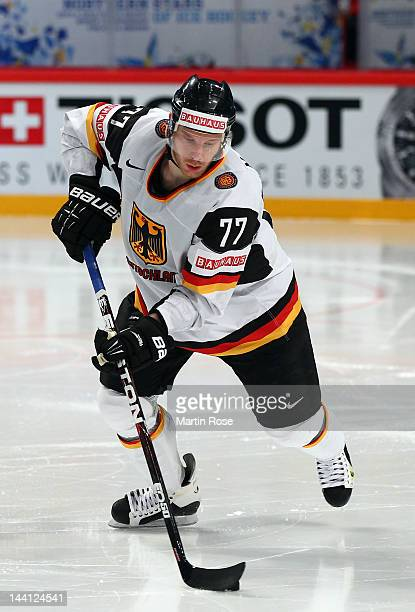 Nikolai Goc of Germany skates against Sweden during the IIHF World Championship group S match between Sweden and Germany at Ericsson Globe on May 9...