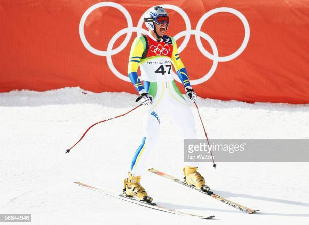 Nikolai Hentsch of Brazil competes in the Downhill section of the Mens Combined Alpine Skiing competition on Day 4 of the 2006 Turin Winter Olympic...