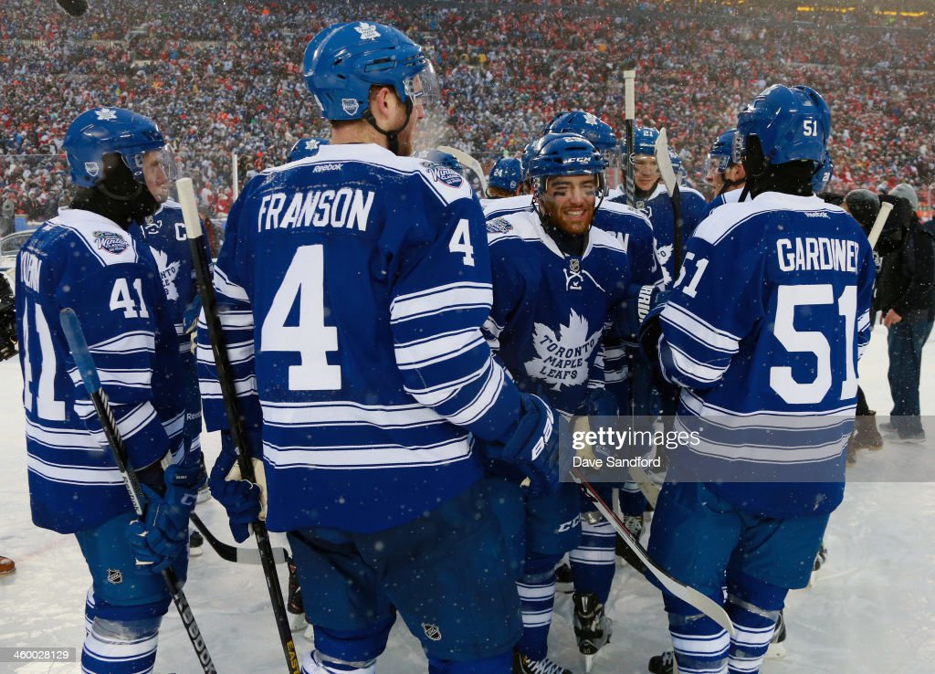 Nikolai Kulemin Cody Franson Jerry D'Amigo and Jake Gardiner of the Toronto Maple Leafs celebrate their 32 shootout overtime win over the Detroit Red...