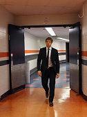 Nikolai Kulemin of the New York Islanders arrives for the game against the Carolina Hurricanes at the Nassau Veterans Memorial Coliseum on October 11...