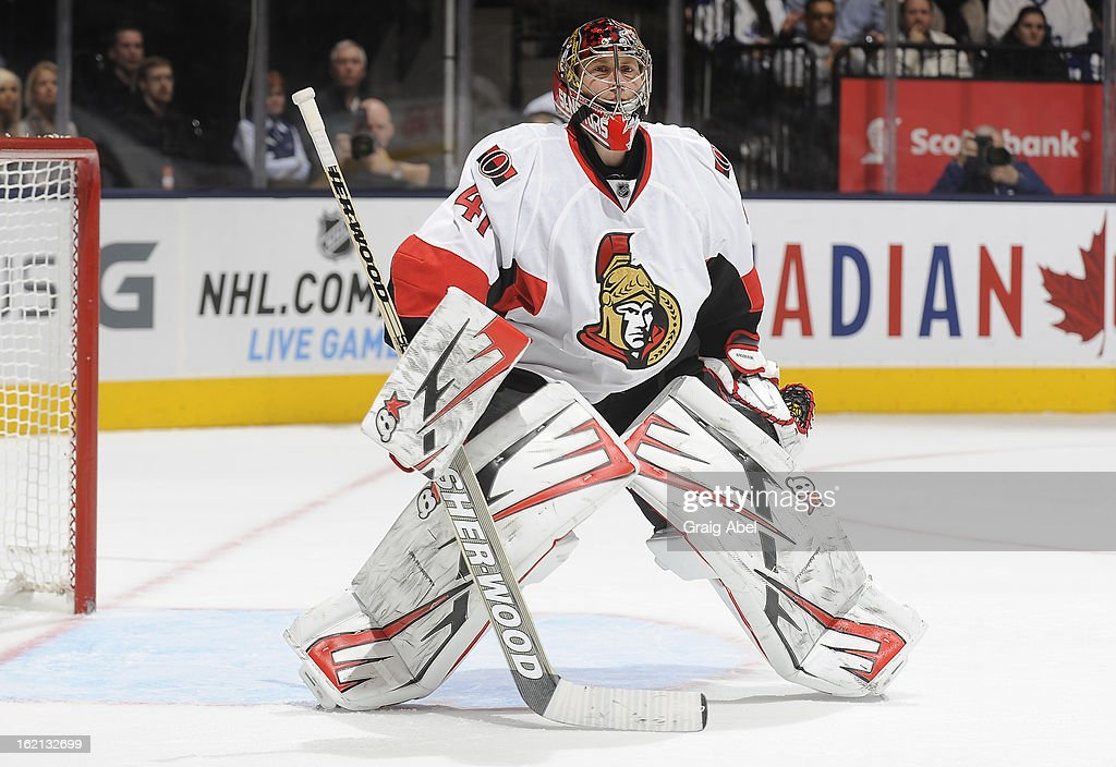 Nikolai Kulemin #41 of the Ottawa Senators skates during NHL game action against the Toronto Maple Leafs February 16, 2013 at the Air Canada Centre in Toronto, Ontario, Canada.