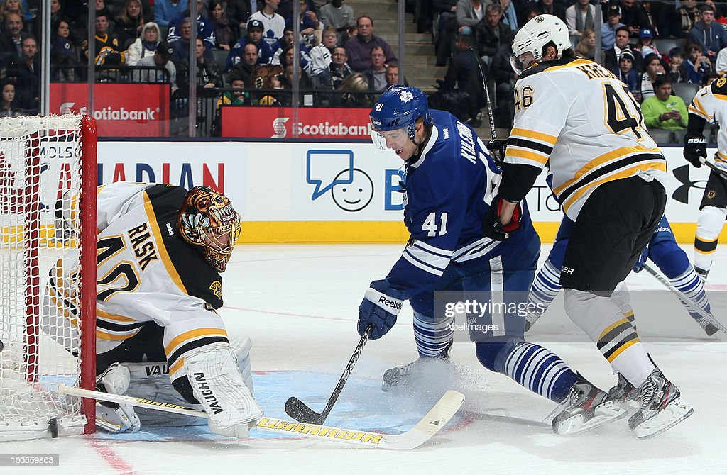 Nikolai Kulemin #41 of the Toronto Maple Leafs deflects a shot past Tuukka Rask #40 with a checking David Krejci #46 of the Boston Bruins during NHL action at the Air Canada Centre February 2, 2013 in Toronto, Ontario, Canada.