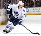 Nikolai Kulemin of the Toronto Maple Leafs handles the puck against the Anaheim Ducks on March 10 2014 at Honda Center in Anaheim California