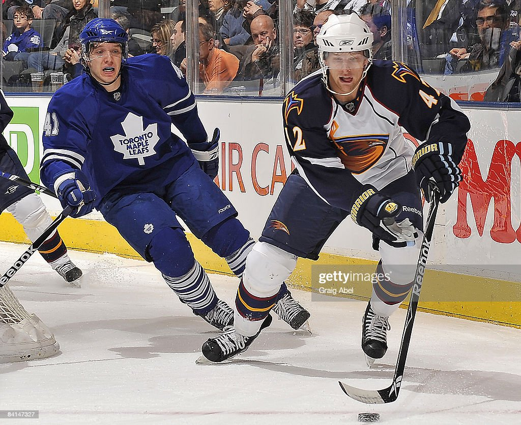 Nikolai Kulemin of the Toronto Maple Leafs skates after Joey Crabb of the Atlanta Thrashers during game action December 30 2008 at the Air Canada...