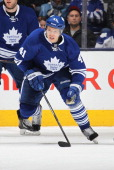 Nikolai Kulemin of the Toronto Maple Leafs skates against the Montreal Canadiens during an NHL game at the Air Canada Centre on March 22 2014 in...