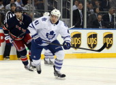 Nikolai Kulemin of the Toronto Maple Leafs skates against the New York Rangers at Madison Square Garden on March 5 2014 in New York City The Leafs...