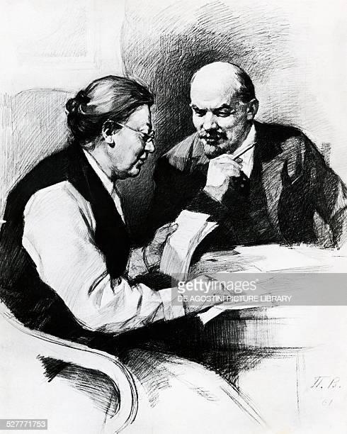 Nikolai Lenin pseudonym of Vladimir Ilyich Ulyanov with his wife Nadezhda Konstantinovna Krupskaya drawing by Pyotr Vasilievich Vasiliev Bolshevik...