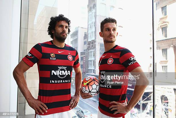 Nikolai ToporStanley and Dario Vidosic of the Wanders pose during the 2015/16 ALeague season launch at the Telstra Customer Insight Centre on October...