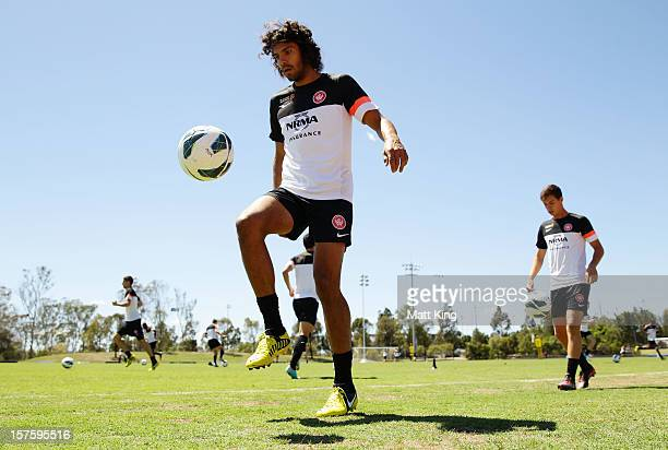 Nikolai ToporStanley controls the ball during a Western Sydney Wanderers ALeague training session at Blacktown International Sportspark on December 5...